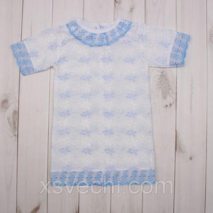 Платье крестильное, рост 68 см, цвет голубой 15013_М