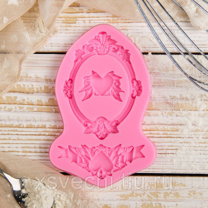 "Молд 12,5х8,2х1,1 см ""Сердца, рамка, лепнина"", цвет розовый"