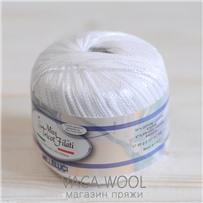 Пряжа Milleluci Color цвет Белый 25, хлопок с вискозой,  137м/50гр Miss Tricot Filati