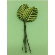 Листочки декоративные 3,2см х 5см. Цвет: 1 green (зеленый). Упак 12 листочков.