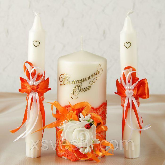 """Комплект свечей элит в коробке """"Семейный очаг""""+2 свечи для родителей оранжевый"""