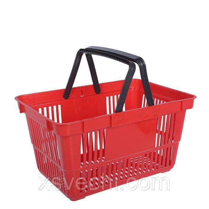 Корзина покупательская пластиковая 20 л, цвет красный