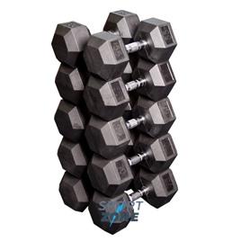 Набор гексагональных гантелей: 5 пар от 24,75 кг до 33,75 кг (шаг 2,25 кг)