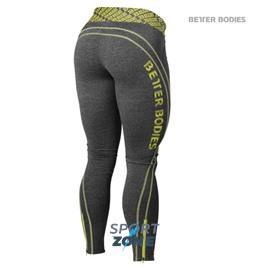 Спортивные леггинсы Better bodies Shaped logo ti, антрацит с лаймом