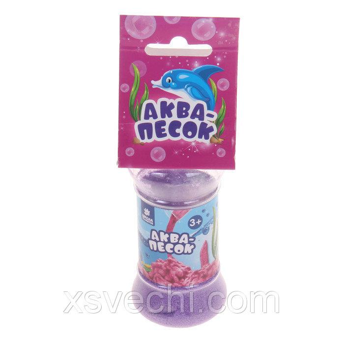 """Аквапесок в банке """"Морские животные"""" с раст. игрушками, песок фиолетовый 65 гр,гидрогель"""