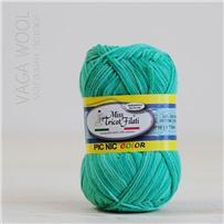Пряжа Pic-Nic Color 101 Зелёный секционный 115м/50гр., хлопок 100%, Miss Tricot Filati
