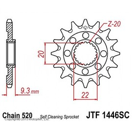 Звезда передняя (ведущая) стальная JTF1446 520 с самоочисткой