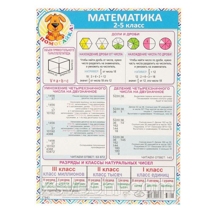 """Шпаргалка """"Математика 2-5 класс"""" А5"""