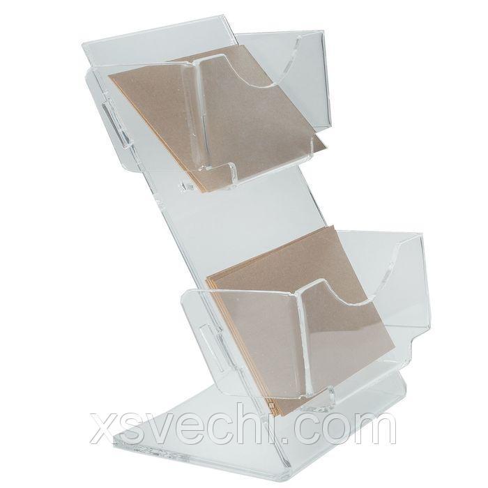 Настольная подставка под визитки, с двумя отделениями, 100*80*140