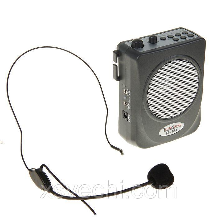 Мегафон поясной TerraSound М-181, 15 Вт, аккумулятор, USB/SD, AUX