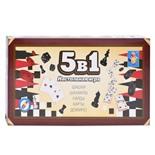 Игра магнитная 1TOY 5 в 1 (шашки, шахматы, нарды, карты, домино) Т12060