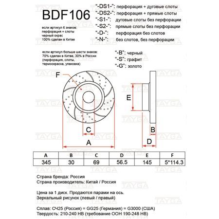 BDF106-D-G - ПЕРЕДНИЕ