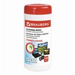 Салфетки влажные для экранов и пластика Brauberg 100 шт в тубе, с ароматом Яблоко 513286