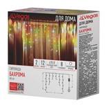 Светодиодная гирлянда для дома (мультиколор) Vegas Бахрома 48 LED, 12 нитей, 2х0,6 м, 220V 55114