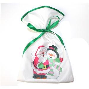 Новогодний мешок для конфет и подарков 20х30 см. Снеговик и Дед Мороз