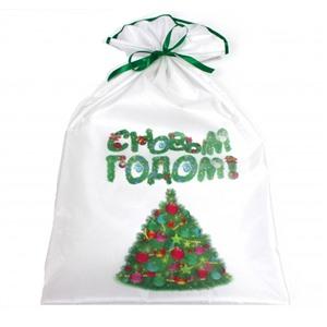 Новогодний мешок для подарков 40х70 см. Ёлка