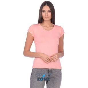 Футболка розового цвета с V-вырезом