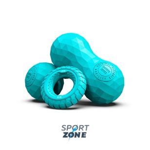 Набор из двух массажных мячей с кистевым эспандером бирюзовый