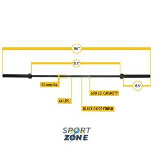 """Гриф олимпийский прямой 86"""", до 270 кг, черный"""