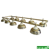 > Лампа на десять плафонов «Crown» (серебрянная штанга, золотистый плафон D38см), интернет-магазин товаров для бильярда Play-billiard.ru