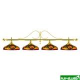 Лампа на четыре плафона «Classic Colorful» (витая золотистая штанга, цветной плафон D44см), интернет-магазин товаров для бильярда Play-billiard.ru
