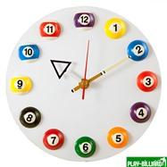 """Часы настенные """"12 шаров"""" D20,5 см (белые), пластик, интернет-магазин товаров для бильярда Play-billiard.ru. Фото 1"""