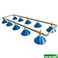 Лампа на десять плафонов «Blue Light» (серебристо-золотистая штанга, синий плафон D35см), интернет-магазин товаров для бильярда Play-billiard.ru