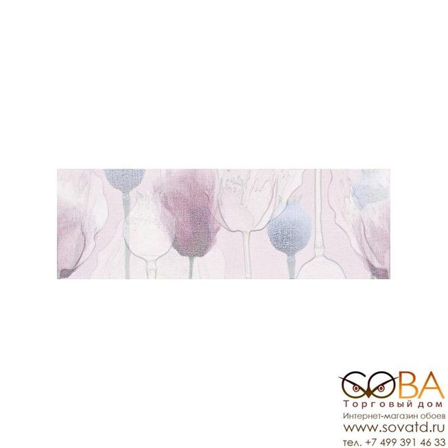 Декор Cersanit Вставка Lila цветы розовый 25х75 купить по лучшей цене в интернет магазине стильных обоев Сова ТД. Доставка по Москве, МО и всей России