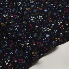 Фланель веточки и цветочки на темно-синем (утепленная)
