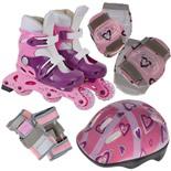 Набор: коньки роликовые, защита, шлем PW-120P (р.31-34)