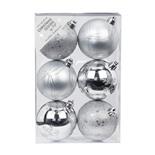 Набор ёлочных шаров INGE'S Christmas Decor 81190G002 d 8 см, серебро (6 шт)