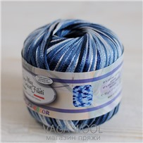 Пряжа Milleluci Color цвет Сине-голубой 04, хлопок с вискозой,  137м/50гр Miss Tricot Filati